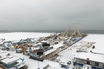 Wildwood Boardwalk In the Snow