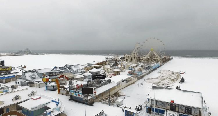 Wildwood Boardwalk In the Snow