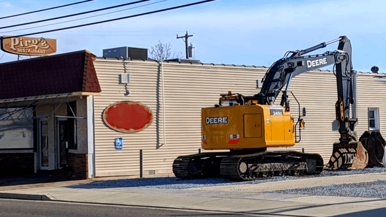 Demolition Trackers Are Sitting Outside Piro's