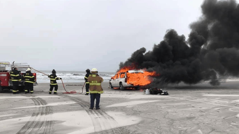 Car Catches Fire On Wildwood Crest Beach